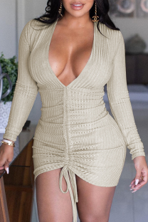 Apricot Sexy Solid V Neck Dresses