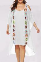 White Casual Print Mesh O Neck Straight Plus Size Dresses