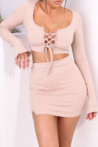 Nude Pink Sexy Solid Hollowed Out Split Joint Frenulum Slit U Neck Long Sleeve Two Pieces