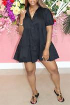 Black Fashion Casual Solid Basic Turndown Collar Short Sleeve Dress
