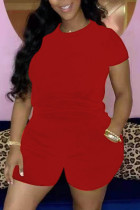 Red Casual Solid Basic O Neck Short Sleeve Two Pieces