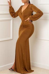 Brown Sexy Solid Fold V Neck Asymmetrical Dresses