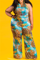 Yellow Blue Fashion Sexy Print Backless Halter Plus Size Jumpsuits