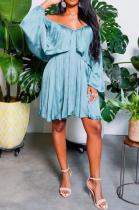 Light Blue Casual Solid Split Joint Off the Shoulder Cake Skirt Plus Size Dresses