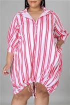Rose Red Fashion Casual Plus Size Striped Print Basic Turndown Collar Shirt Dress