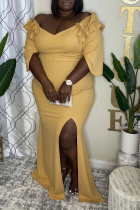 Yellow Sexy Solid Split Joint Off the Shoulder Irregular Dress Plus Size Dresses