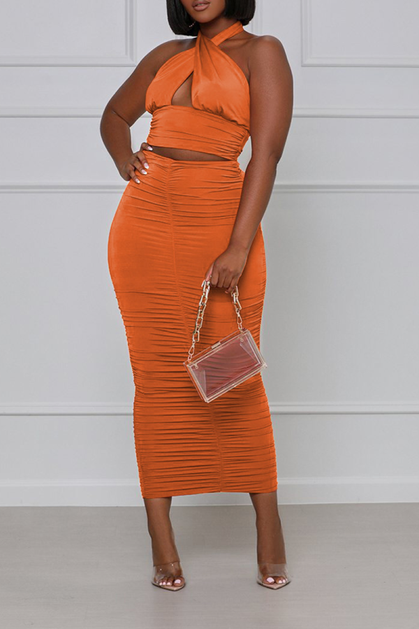 Tangerine Red Sexy Solid Split Joint Halter Sleeveless Two Pieces