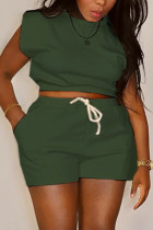 Green Casual Solid Split Joint O Neck Sleeveless Two Pieces