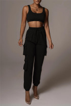 Black Fashion Casual Solid Vests Pants U Neck Sleeveless Two Pieces