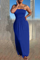 Blue Sexy Casual Solid Backless Strapless Sleeveless Dress