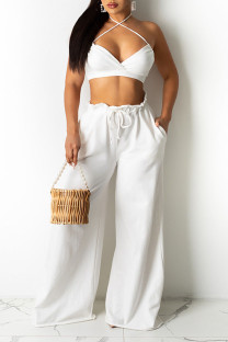 White Sexy Solid Split Joint Halter Sleeveless Two Pieces