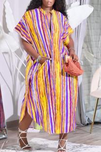 Yellow Casual Striped Print Split Joint Buckle Mandarin Collar Shirt Dress Dresses