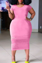 Pink Casual Ripped Split Joint O Neck Straight Plus Size Dresses