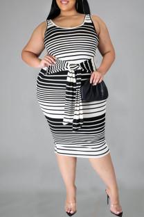 Black Casual Striped Print Bandage Split Joint Knotted U Neck Pencil Skirt Plus Size Dresses