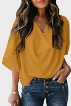 Yellow Casual Solid Split Joint V Neck Tops