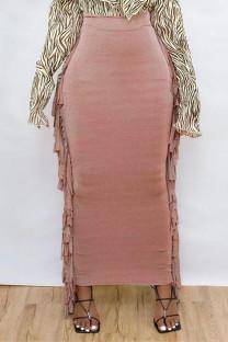 Red-brown Fashion Casual Solid Tassel Regular High Waist Skirt