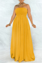 Yellow Sexy Casual Solid Backless Strapless Regular Jumpsuits