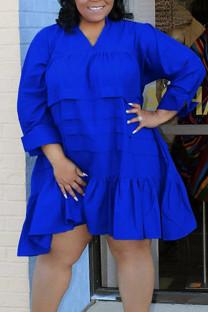 Blue Casual Solid Split Joint Flounce V Neck Princess Plus Size Dresses