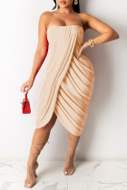 Apricot Sexy Casual Solid Backless Strapless Irregular Dress