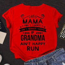 Red Fashion Casual Letter Print Basic O Neck T-Shirts