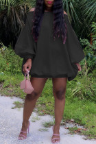Black Sexy Casual Solid Backless Off the Shoulder Long Sleeve Dresses