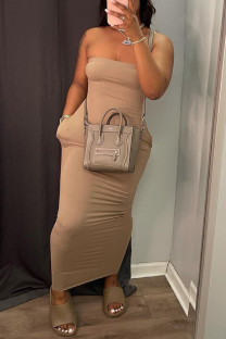 Khaki Sexy Casual Solid Backless Strapless Sleeveless Dress