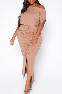 Apricot Casual Solid Split Joint Slit Fold O Neck Short Sleeve Dress Plus Size Two Pieces