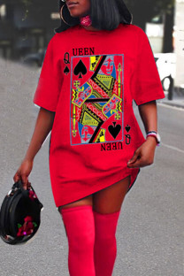 Red Casual Print Split Joint O Neck Straight Dresses