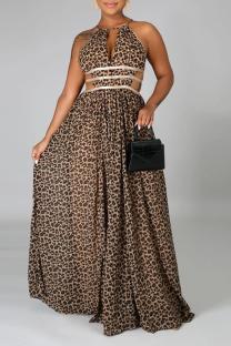 Leopard Print Sexy Leopard Split Joint Halter Cake Skirt Dresses