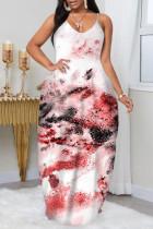 Pink Fashion Plus Size Solid Backless Spaghetti Strap Sleeveless Dress