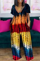 Red Yellow Fashion Casual Print Basic V Neck Short Sleeve Regular Jumpsuits