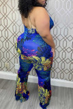 Blue Fashion Sexy Print Backless Halter Plus Size Jumpsuits