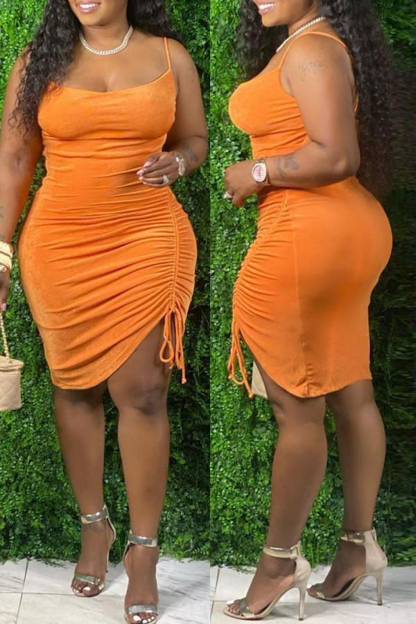 Orange Fashion Sexy Plus Size Solid Draw String Backless Spaghetti Strap Sleeveless Dress