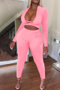 Pink Sexy Solid Hollowed Out Split Joint V Neck Long Sleeve Two Pieces