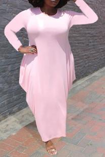 Light Pink Casual Solid Split Joint Asymmetrical O Neck Irregular Dress Plus Size Dresses