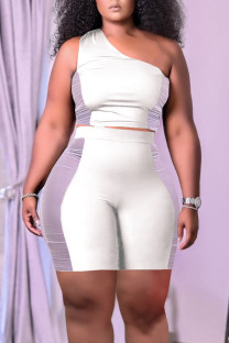 White Casual Solid Split Joint See-through Oblique Collar Sleeveless Two Pieces