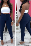 White Sexy Solid Split Joint Skinny Mid Waist Pencil Solid Color Bottoms