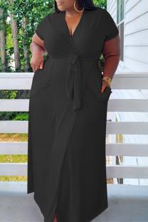 Black Fashion Casual Plus Size Solid Bandage V Neck Short Sleeve Dress