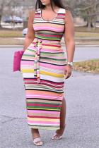 Pink Fashion Casual Plus Size Striped Print Slit U Neck Vest Dress
