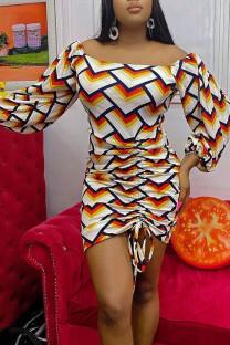 Colour Casual Print Split Joint Off the Shoulder Pencil Skirt Dresses