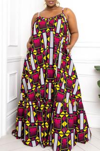 Dark Purple Sexy Print Split Joint High Opening Spaghetti Strap Sling Dress Plus Size Dresses