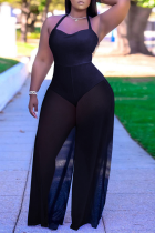 Black Sexy Solid Mesh Halter Loose Jumpsuits