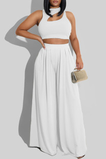 White Fashion Casual Solid Hollowed Out O Neck Sleeveless Two Pieces