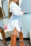 White Fashion Casual Patchwork Asymmetrical V Neck Long Sleeve Dresses