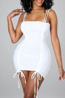 White Sexy Solid Split Joint Frenulum Fold Spaghetti Strap Pencil Skirt Dresses
