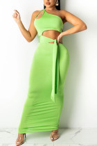 Fluorescent Green Sexy Solid Bandage Hollowed Out Split Joint Oblique Collar Pencil Skirt Dresses
