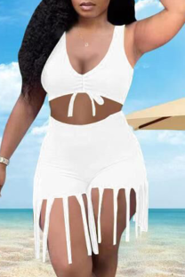 White Sexy Solid Tassel V Neck Sleeveless Two Pieces