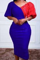 Blue Casual Solid Split Joint V Neck Pencil Skirt Dresses