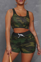 Army Green Fashion Casual Camouflage Print Vests U Neck Sleeveless Two Pieces