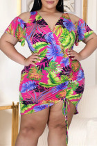 Rose Red Fashion Casual Plus Size Print Hollowed Out V Neck Short Sleeve Dress